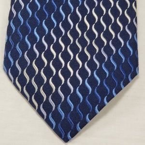 Hermes Paris France Tie Vertical Wavy Lines S Blue